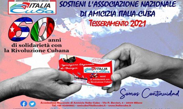 Al via il Tesseramento 2021 all'Associazione Nazionale di Amicizia Italia-Cuba